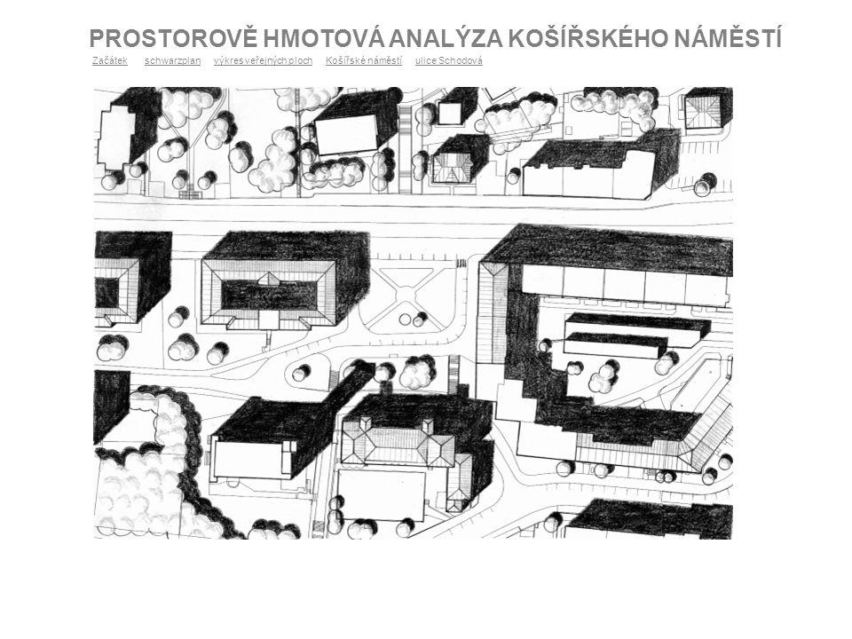PROSTOROVĚ HMOTOVÁ ANALÝZA KOŠÍŘSKÉHO NÁMĚSTÍ ZačátekZačátek schwarzplan výkres veřejných ploch Košířské náměstí ulice Schodováschwarzplanvýkres veřej