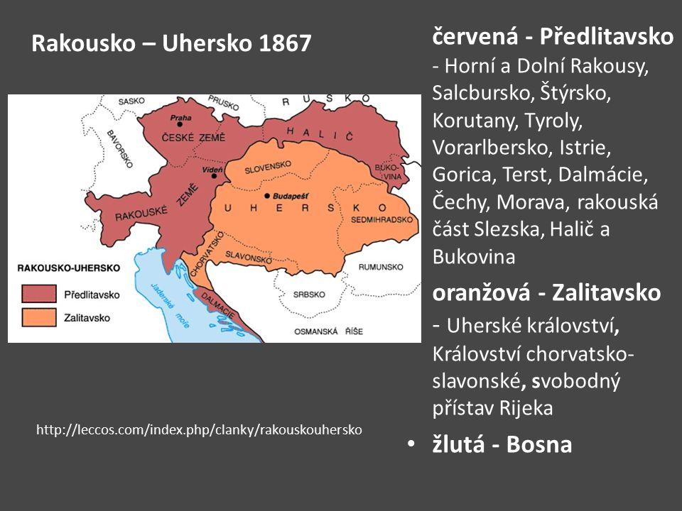 Rakousko – Uhersko 1867 červená - Předlitavsko - Horní a Dolní Rakousy, Salcbursko, Štýrsko, Korutany, Tyroly, Vorarlbersko, Istrie, Gorica, Terst, Da