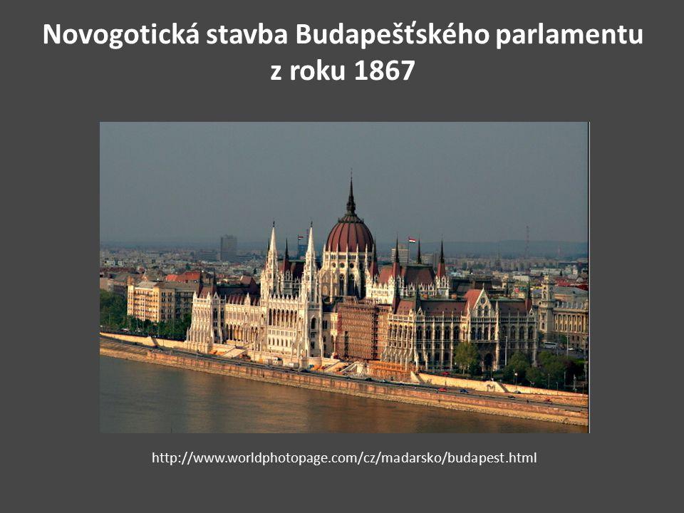 Novogotická stavba Budapešťského parlamentu z roku 1867 http://www.worldphotopage.com/cz/madarsko/budapest.html