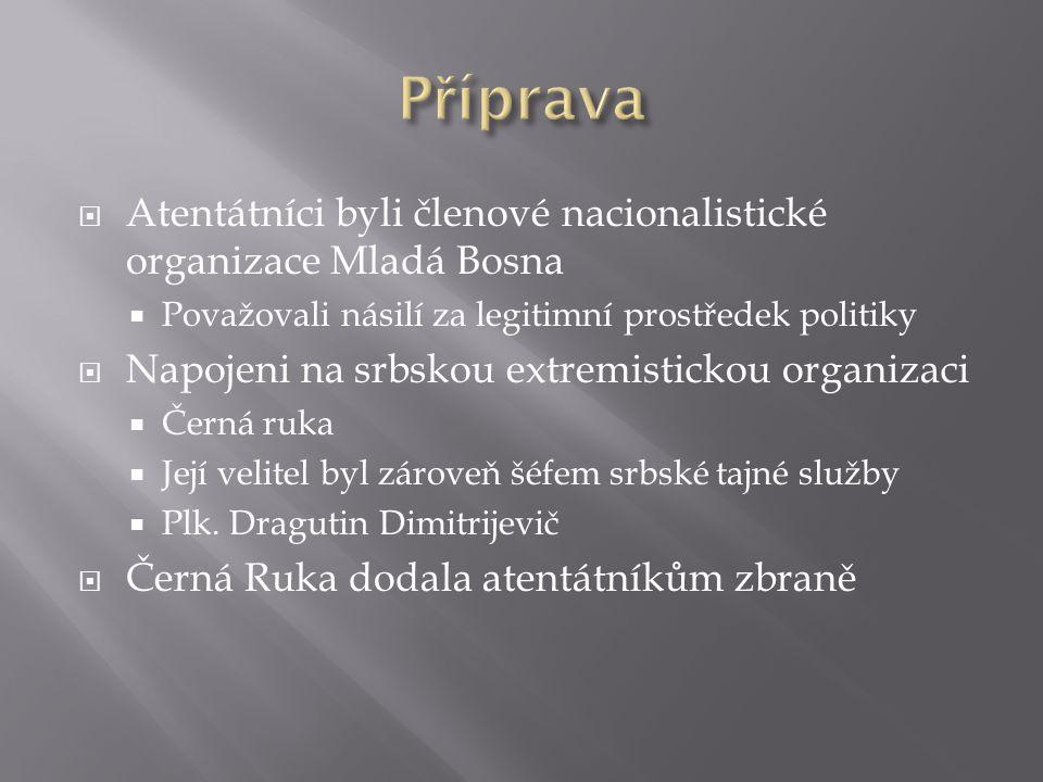  Atentátníci byli členové nacionalistické organizace Mladá Bosna  Považovali násilí za legitimní prostředek politiky  Napojeni na srbskou extremist