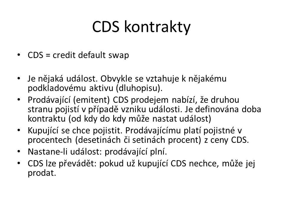 CDS kontrakty CDS = credit default swap Je nějaká událost.