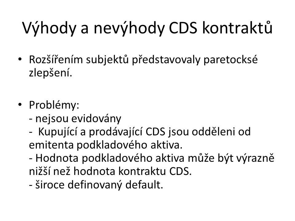 Výhody a nevýhody CDS kontraktů Rozšířením subjektů představovaly paretocksé zlepšení.