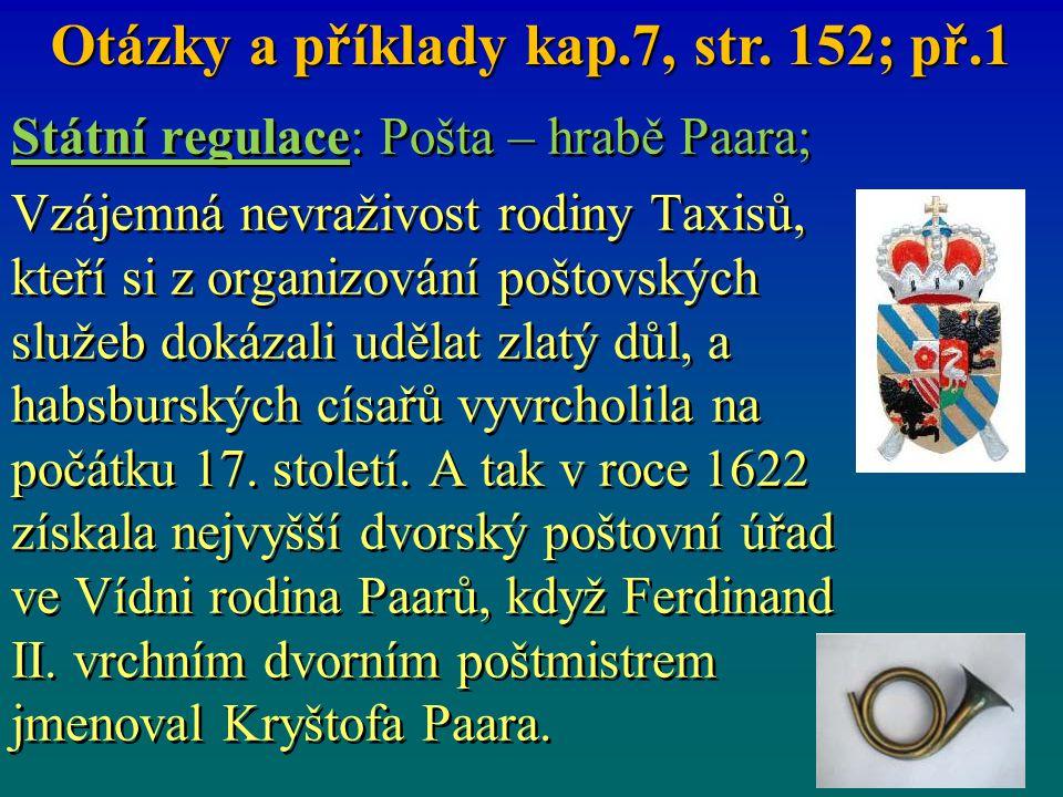 Státní regulace: Pošta – hrabě Paara; Vzájemná nevraživost rodiny Taxisů, kteří si z organizování poštovských služeb dokázali udělat zlatý důl, a habs