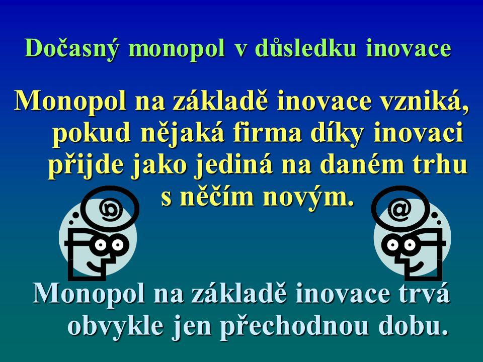 Dočasný monopol v důsledku inovace Monopol na základě inovace vzniká, pokud nějaká firma díky inovaci přijde jako jediná na daném trhu s něčím novým.