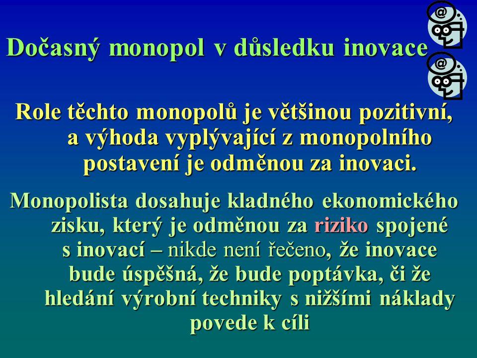 Dočasný monopol v důsledku inovace Role těchto monopolů je většinou pozitivní, a výhoda vyplývající z monopolního postavení je odměnou za inovaci. Mon