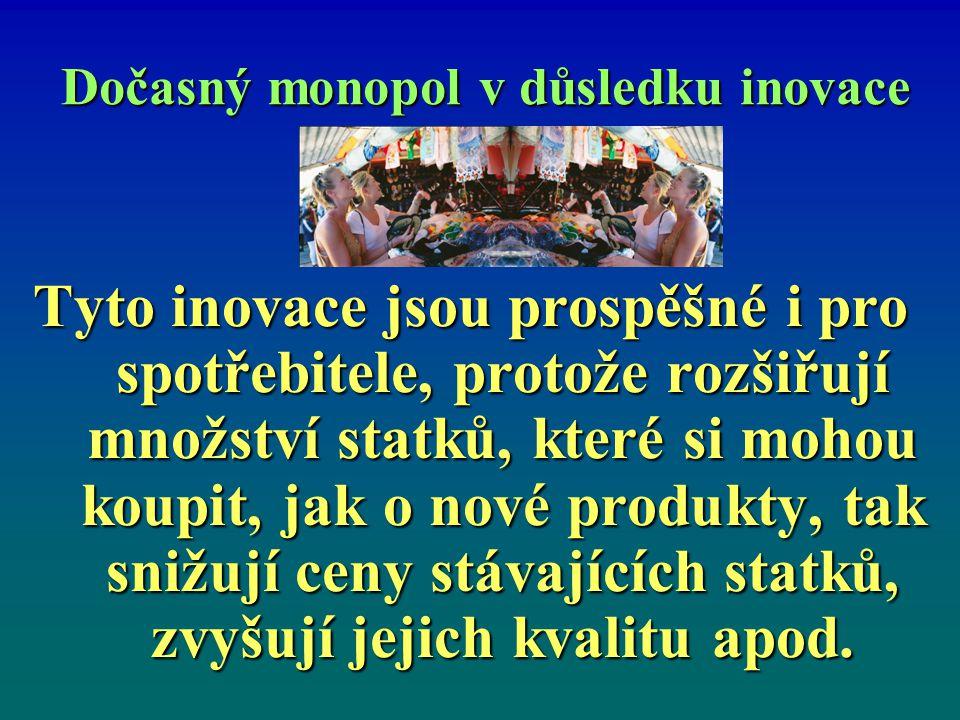 Dočasný monopol v důsledku inovace Tyto inovace jsou prospěšné i pro spotřebitele, protože rozšiřují množství statků, které si mohou koupit, jak o nov