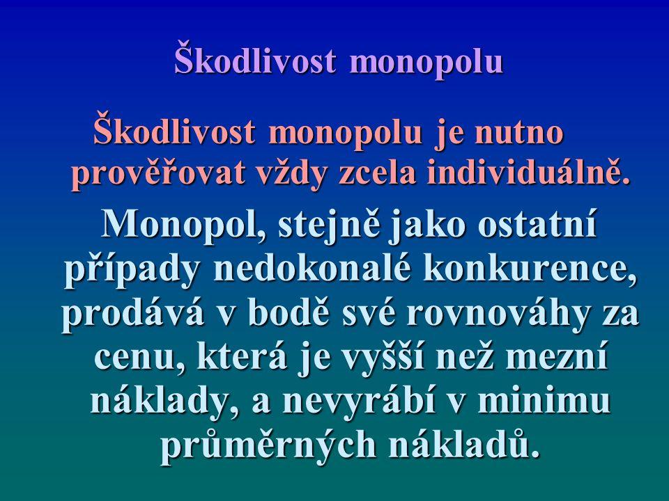 Škodlivost monopolu Škodlivost monopolu je nutno prověřovat vždy zcela individuálně. Monopol, stejně jako ostatní případy nedokonalé konkurence, prodá