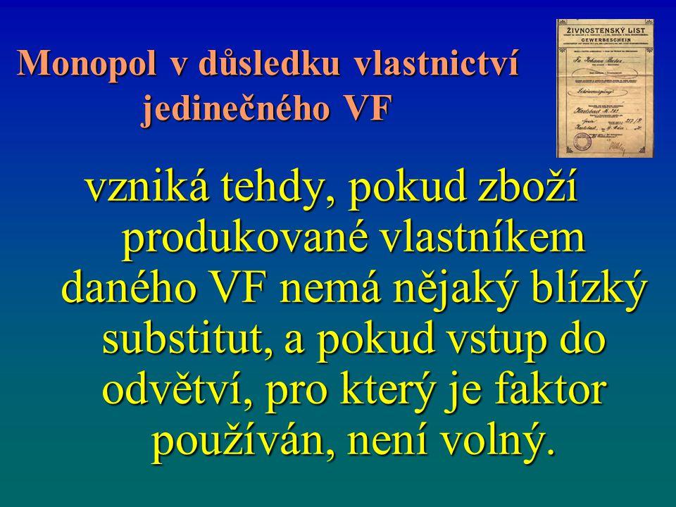 Monopol v důsledku vlastnictví jedinečného VF vzniká tehdy, pokud zboží produkované vlastníkem daného VF nemá nějaký blízký substitut, a pokud vstup d