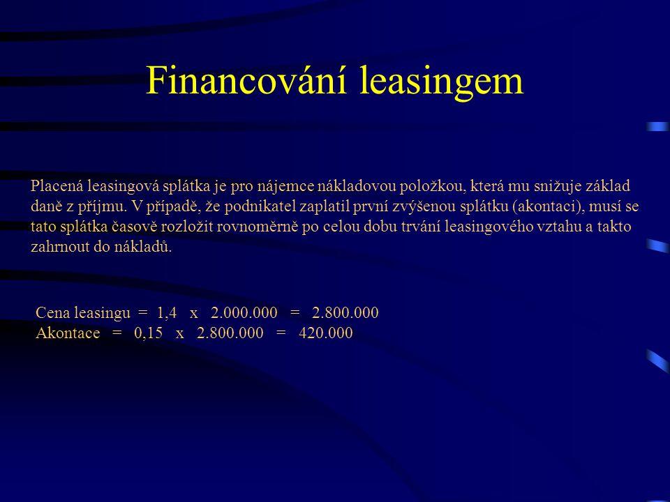 Financování leasingem Placená leasingová splátka je pro nájemce nákladovou položkou, která mu snižuje základ daně z příjmu. V případě, že podnikatel z