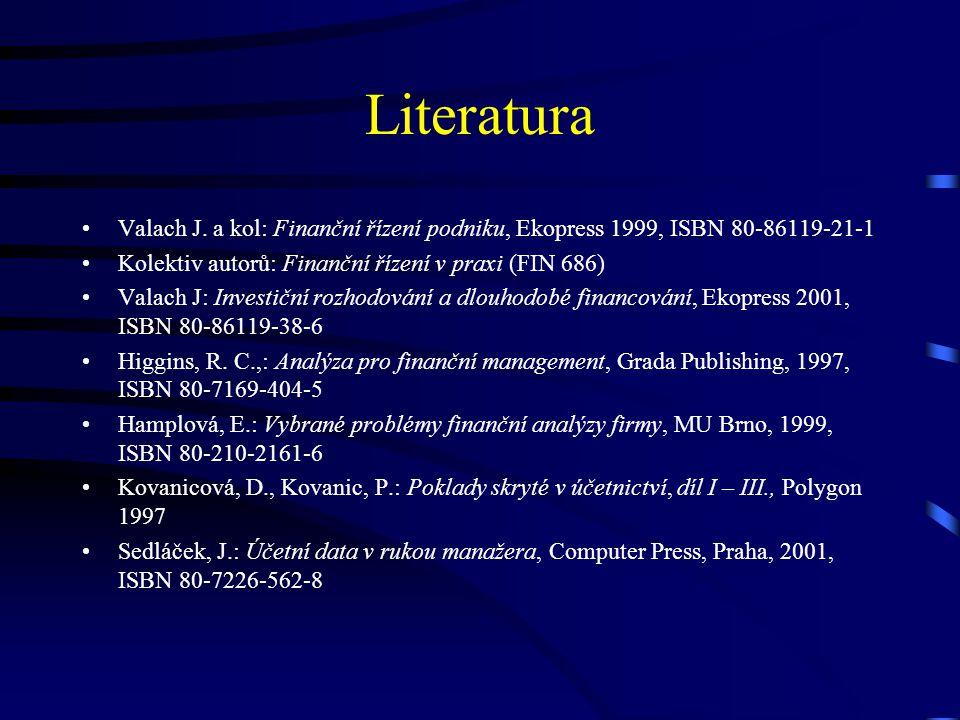 Literatura Valach J. a kol: Finanční řízení podniku, Ekopress 1999, ISBN 80-86119-21-1 Kolektiv autorů: Finanční řízení v praxi (FIN 686) Valach J: In