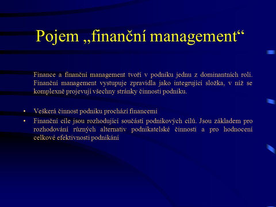 """Pojem """"finanční management"""" Finance a finanční management tvoří v podniku jednu z dominantních rolí. Finanční management vystupuje zpravidla jako inte"""