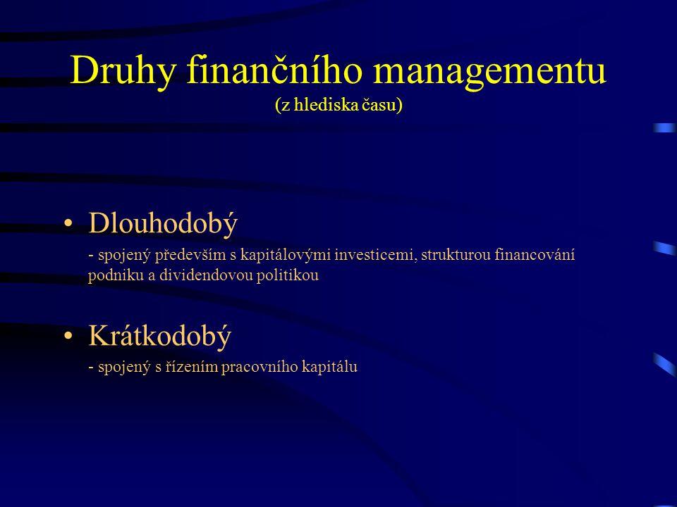 Druhy finančního managementu (z hlediska času) Dlouhodobý - spojený především s kapitálovými investicemi, strukturou financování podniku a dividendovo