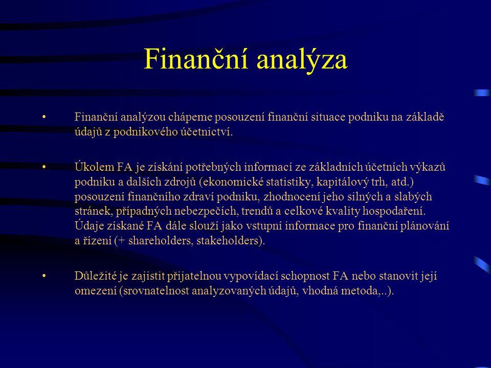 Metody elementární technické analýzy Analýza absolutních ukazatelů (horizontální a vertikální A) Analýza rozdílových ukazatelů (fondy finančních prostředků) Analýza cash flow Analýza poměrových ukazatelů –Rentabilita –Aktivita –Likvidita –Zadluženost a finanční struktura –Provozní činnost –Ukazatelé kapitálového trhu Analýza soustav ukazatelů –Pyramidové rozklady –Predikční modely