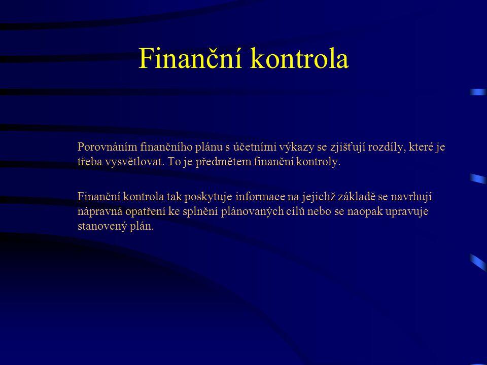 Finanční kontrola Porovnáním finančního plánu s účetními výkazy se zjišťují rozdíly, které je třeba vysvětlovat. To je předmětem finanční kontroly. Fi