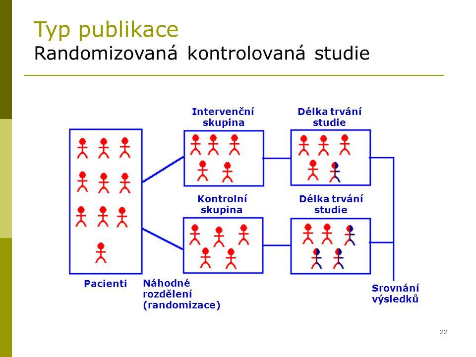 22 Typ publikace Randomizovaná kontrolovaná studie Intervenční skupina Délka trvání studie Kontrolní skupina Délka trvání studie Pacienti Náhodné rozd