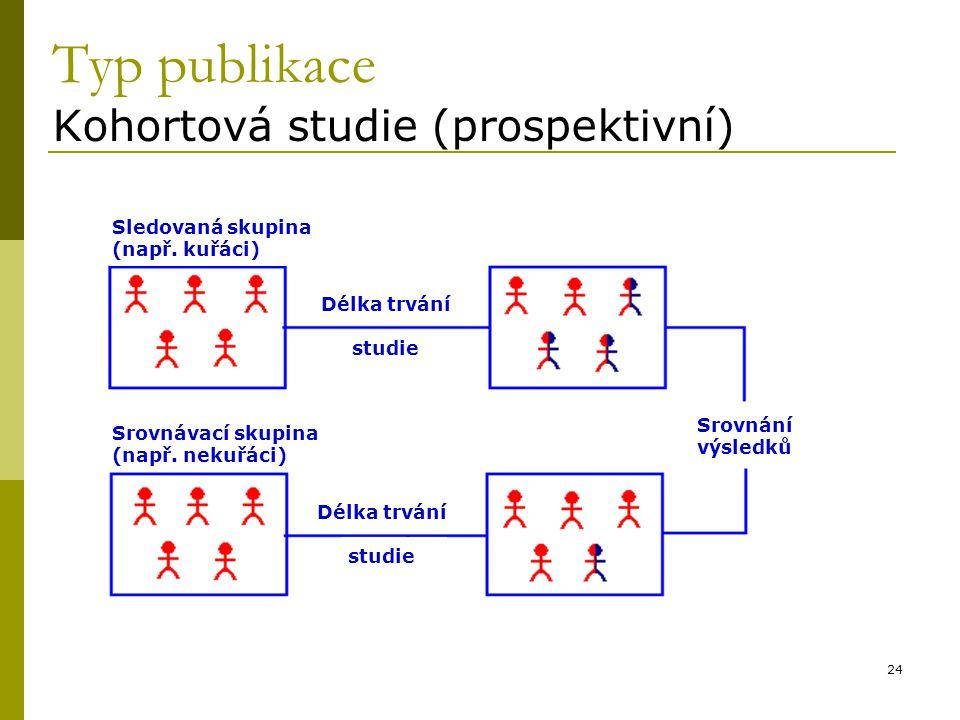 24 Typ publikace Kohortová studie (prospektivní) Sledovaná skupina (např. kuřáci) Srovnávací skupina (např. nekuřáci) Délka trvání studie Délka trvání