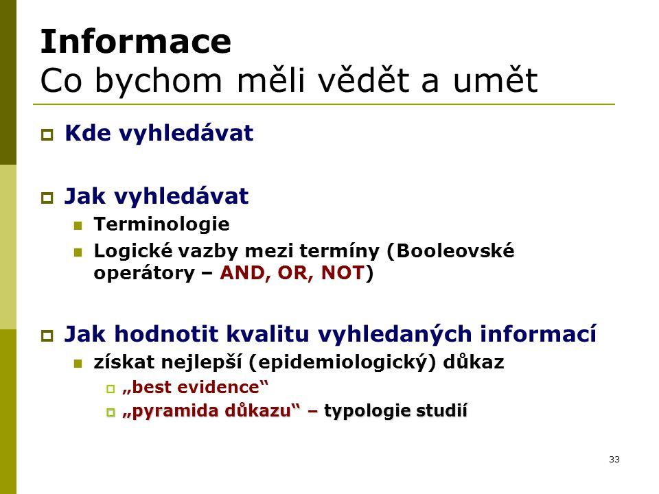 33 Informace Co bychom měli vědět a umět  Kde vyhledávat  Jak vyhledávat Terminologie Logické vazby mezi termíny (Booleovské operátory – AND, OR, NO