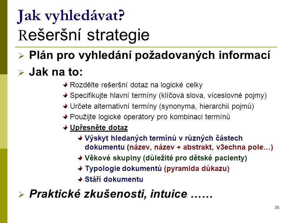 35 Jak vyhledávat? R ešeršní strategie  Plán pro vyhledání požadovaných informací  Jak na to: Rozdělte rešeršní dotaz na logické celky Specifikujte
