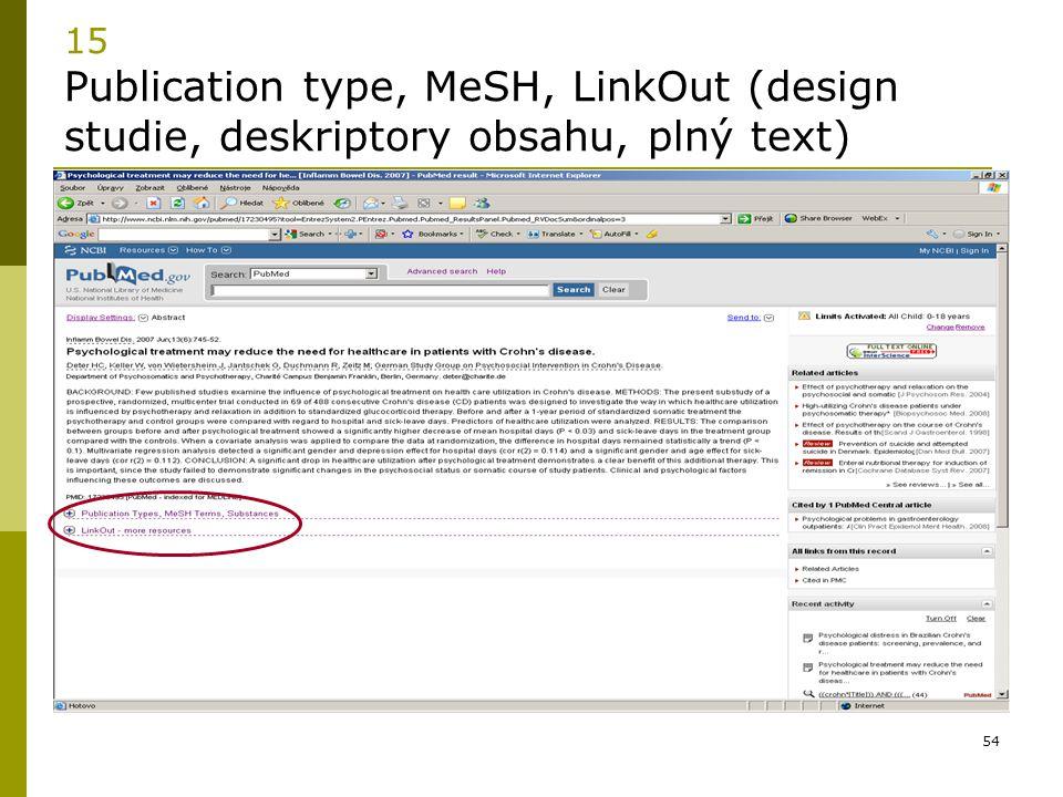 54 15 Publication type, MeSH, LinkOut (design studie, deskriptory obsahu, plný text)