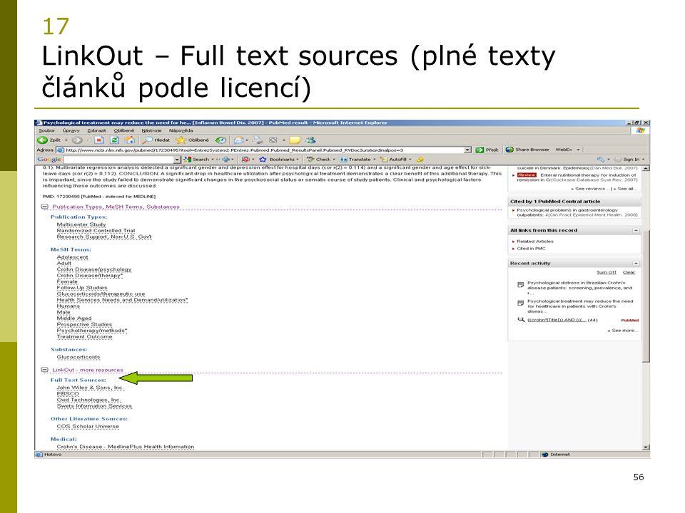 56 17 LinkOut – Full text sources (plné texty článků podle licencí)