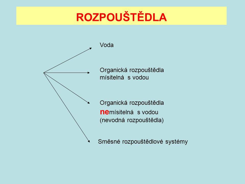 ROZPOUŠTĚDLA Voda Organická rozpouštědla mísitelná s vodou Organická rozpouštědla ne mísitelná s vodou (nevodná rozpouštědla) Směsné rozpouštědlové sy