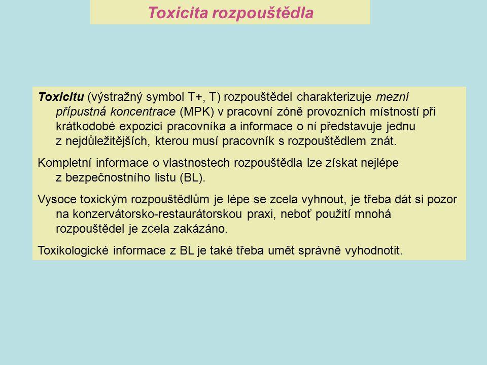 Toxicitu (výstražný symbol T+, T) rozpouštědel charakterizuje mezní přípustná koncentrace (MPK) v pracovní zóně provozních místností při krátkodobé ex