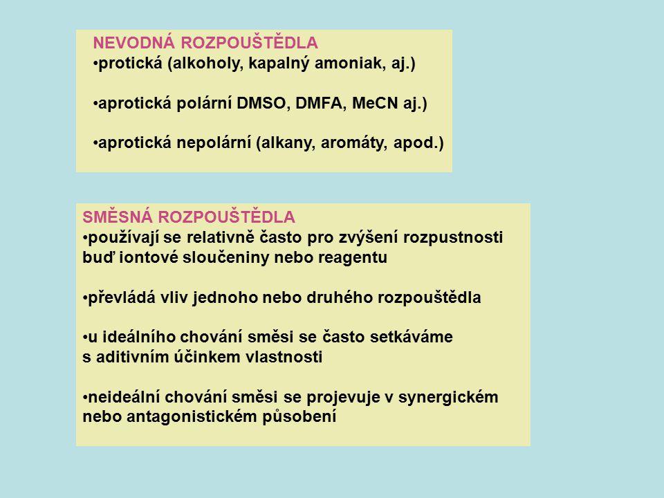 NEVODNÁ ROZPOUŠTĚDLA protická (alkoholy, kapalný amoniak, aj.) aprotická polární DMSO, DMFA, MeCN aj.) aprotická nepolární (alkany, aromáty, apod.) SM