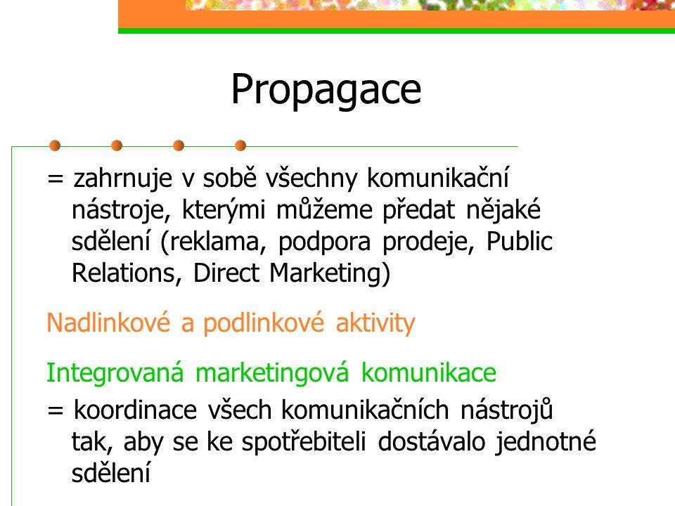 Propagace = zahrnuje v sobě všechny komunikační nástroje, kterými můžeme předat nějaké sdělení (reklama, podpora prodeje, Public Relations, Direct Mar