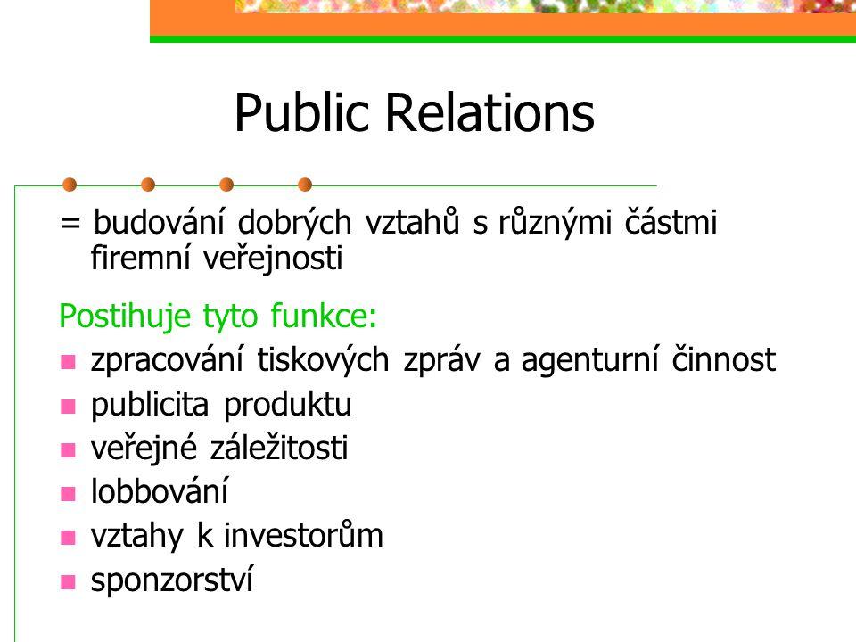Public Relations = budování dobrých vztahů s různými částmi firemní veřejnosti Postihuje tyto funkce: zpracování tiskových zpráv a agenturní činnost p