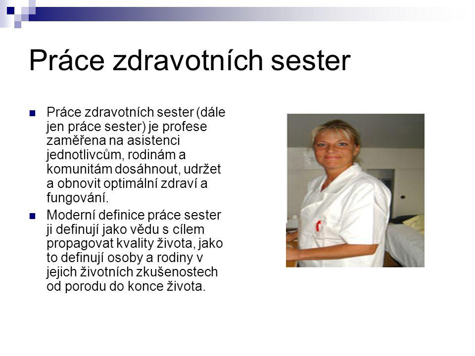 Práce sester jako profese Práce sester je provázena sesterským výzkumem a je řízená sesterskou etikou.