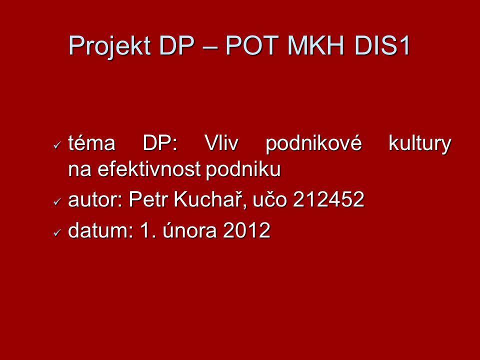 Projekt DP – POT MKH DIS1 téma DP: Vliv podnikové kultury na efektivnost podniku téma DP: Vliv podnikové kultury na efektivnost podniku autor: Petr Ku