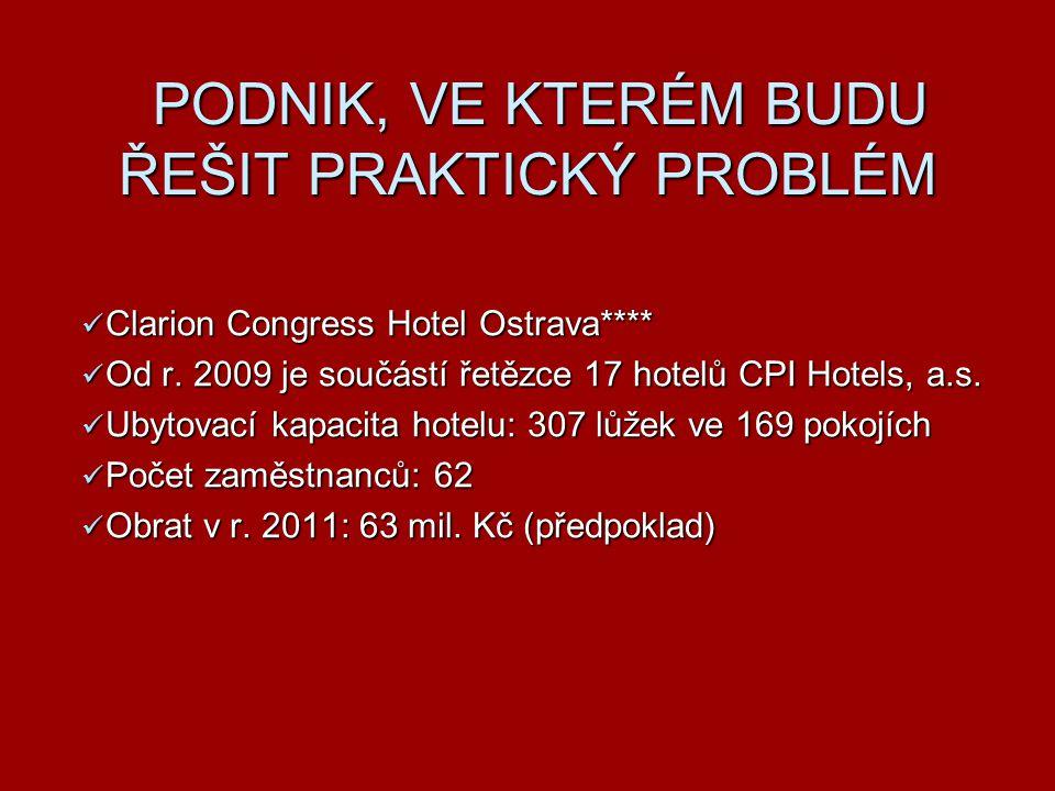 PODNIK, VE KTERÉM BUDU ŘEŠIT PRAKTICKÝ PROBLÉM Clarion Congress Hotel Ostrava**** Clarion Congress Hotel Ostrava**** Od r. 2009 je součástí řetězce 17