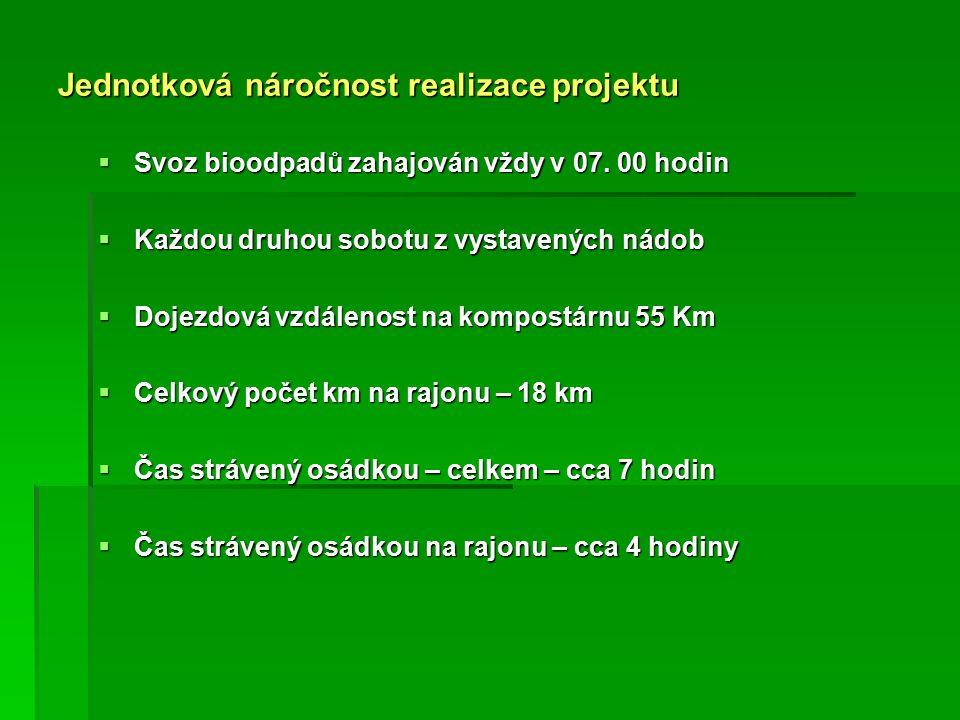 Jednotková náročnost realizace projektu  Svoz bioodpadů zahajován vždy v 07.