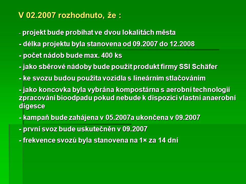 - projekt bude probíhat ve dvou lokalitách města - délka projektu byla stanovena od 09.2007 do 12.2008 - počet nádob bude max.