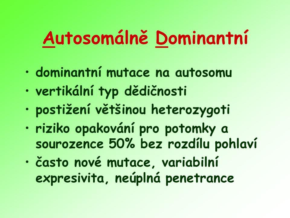 Autosomálně Dominantní dominantní mutace na autosomu vertikální typ dědičnosti postižení většinou heterozygoti riziko opakování pro potomky a sourozen