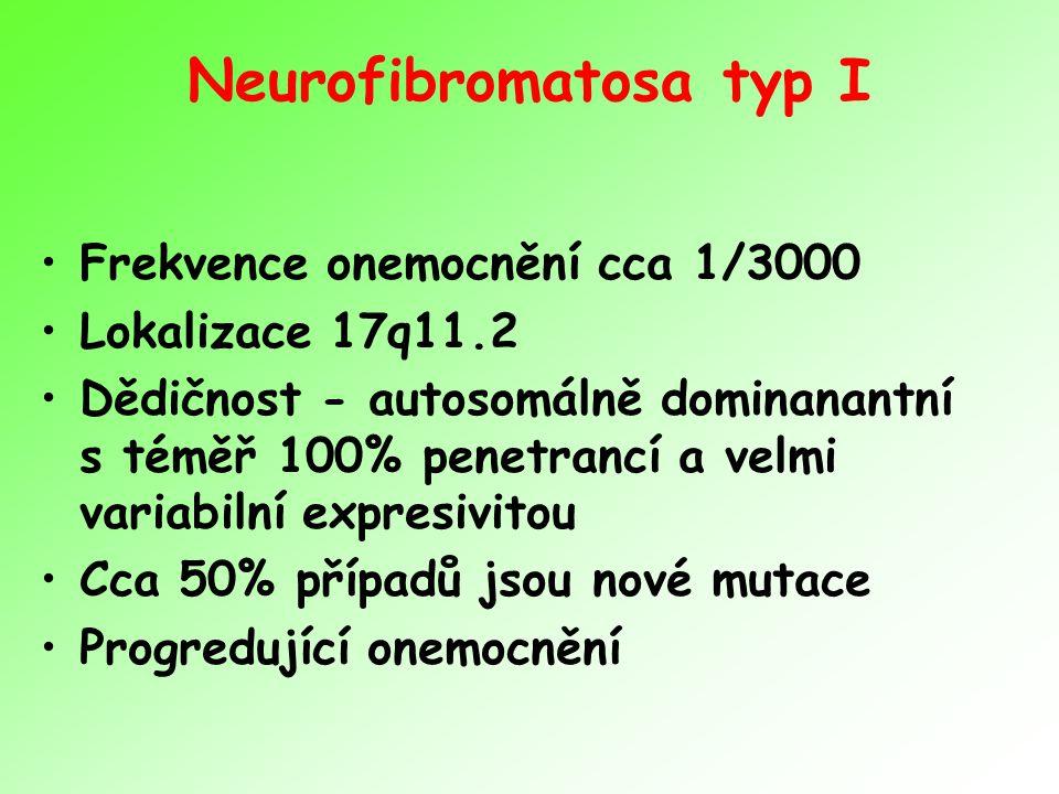 Neurofibromatosa typ I Frekvence onemocnění cca 1/3000 Lokalizace 17q11.2 Dědičnost - autosomálně dominanantní s téměř 100% penetrancí a velmi variabi