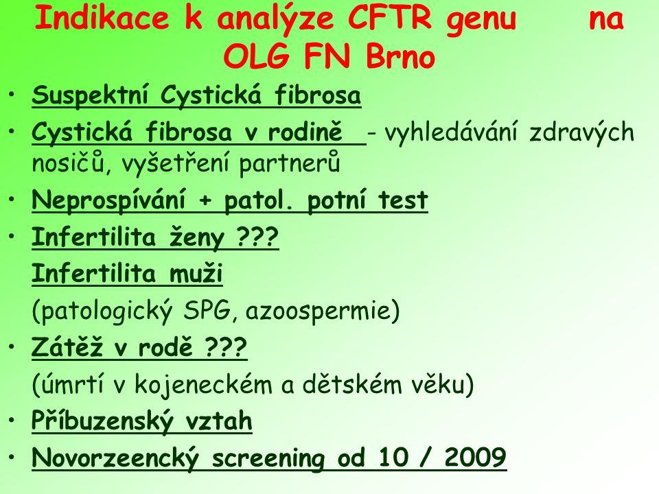 Indikace k analýze CFTR genu na OLG FN Brno Suspektní Cystická fibrosa Cystická fibrosa v rodině - vyhledávání zdravých nosičů, vyšetření partnerů Nep