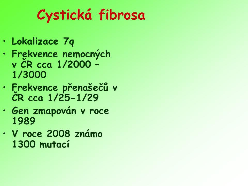 Cystická fibrosa Lokalizace 7q Frekvence nemocných v ČR cca 1/2000 – 1/3000 Frekvence přenašečů v ČR cca 1/25-1/29 Gen zmapován v roce 1989 V roce 200