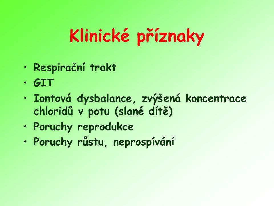 Klinické příznaky Respirační trakt GIT Iontová dysbalance, zvýšená koncentrace chloridů v potu (slané dítě) Poruchy reprodukce Poruchy růstu, neprospí