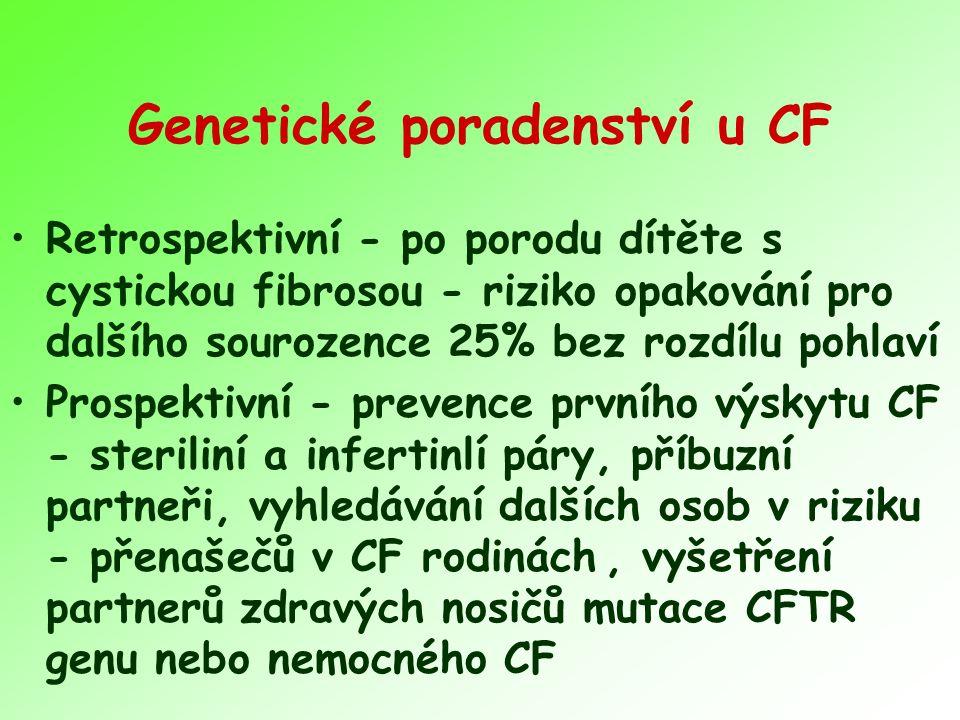 Genetické poradenství u CF Retrospektivní - po porodu dítěte s cystickou fibrosou - riziko opakování pro dalšího sourozence 25% bez rozdílu pohlaví Pr