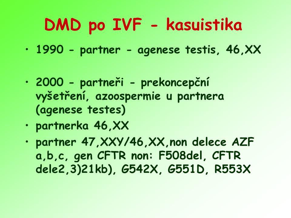 DMD po IVF - kasuistika 1990 - partner - agenese testis, 46,XX 2000 - partneři - prekoncepční vyšetření, azoospermie u partnera (agenese testes) partn
