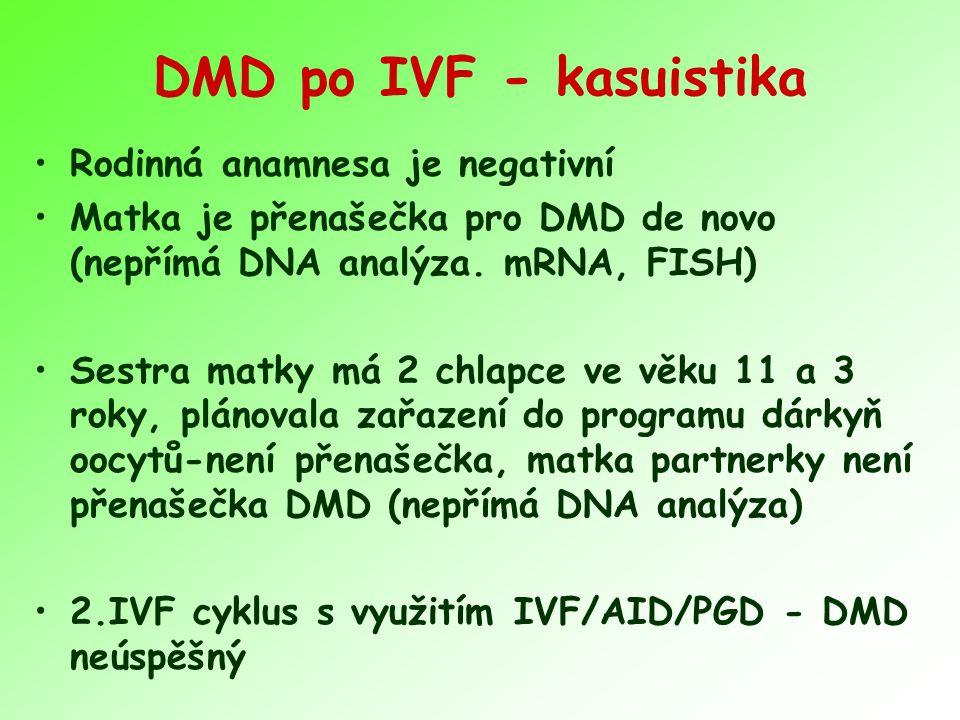 DMD po IVF - kasuistika Rodinná anamnesa je negativní Matka je přenašečka pro DMD de novo (nepřímá DNA analýza. mRNA, FISH) Sestra matky má 2 chlapce