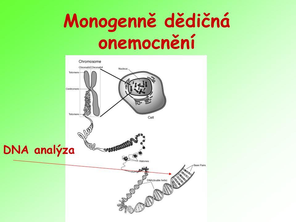 Molekulárně genetické vyšetření Protokolární postupy – cílené vyšetření vysoce suspektního onemocnění Pokud možno přesná klinická dg.