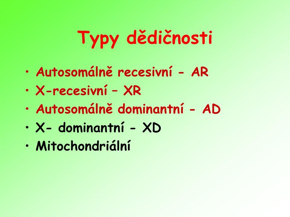 Typy dědičnosti Autosomálně recesivní - AR X-recesivní – XR Autosomálně dominantní - AD X- dominantní - XD Mitochondriální