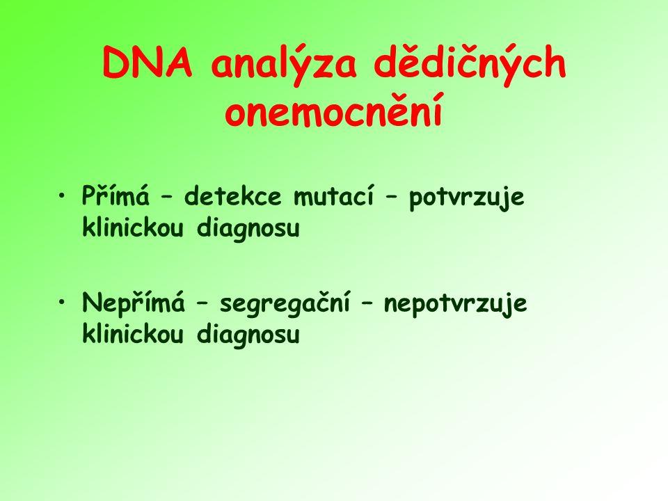 DNA analýza dědičných onemocnění Přímá – detekce mutací – potvrzuje klinickou diagnosu Nepřímá – segregační – nepotvrzuje klinickou diagnosu