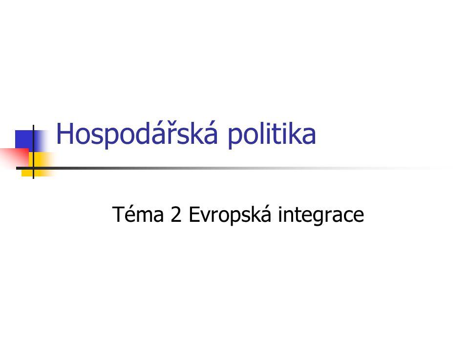 Hospodářská politika Téma 2 Evropská integrace