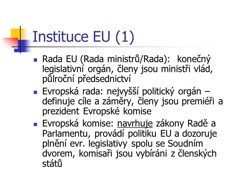 Instituce EU (1) Rada EU (Rada ministrů/Rada): konečný legislativní orgán, členy jsou ministři vlád, půlroční předsednictví Evropská rada: nejvyšší politický orgán – definuje cíle a záměry, členy jsou premiéři a prezident Evropské komise Evropská komise: navrhuje zákony Radě a Parlamentu, provádí politiku EU a dozoruje plnění evr.