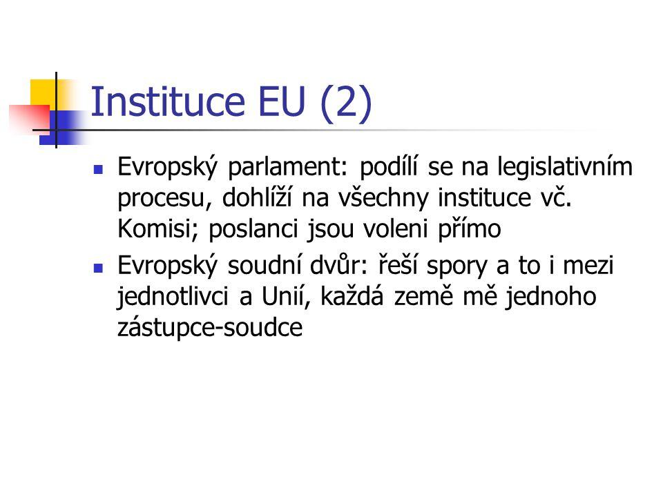 Instituce EU (2) Evropský parlament: podílí se na legislativním procesu, dohlíží na všechny instituce vč.