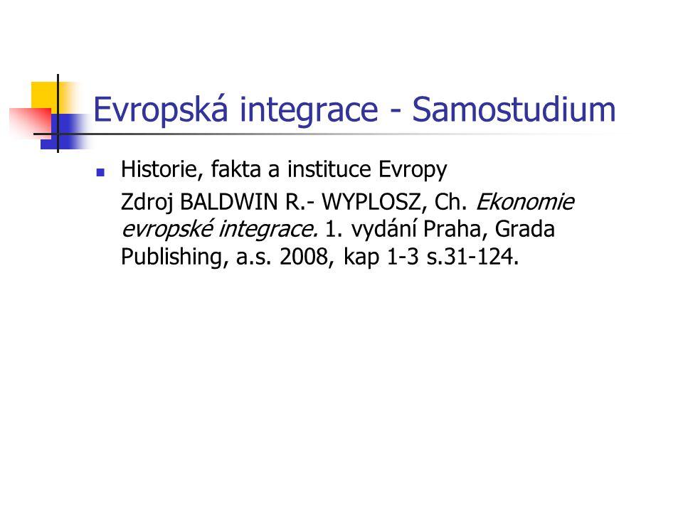 Evropská integrace - Samostudium Historie, fakta a instituce Evropy Zdroj BALDWIN R.- WYPLOSZ, Ch.