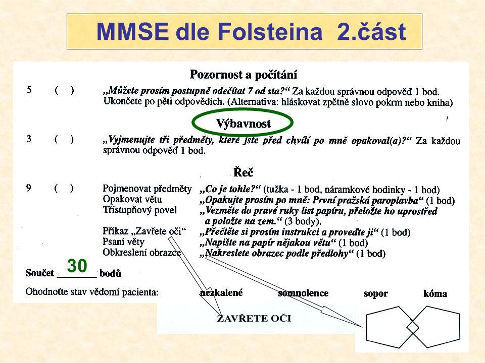 30 MMSE dle Folsteina 2.část